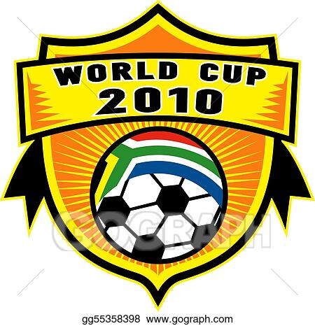 Drawing - Icon for 2010 soccer world cup with soccer ball with flag