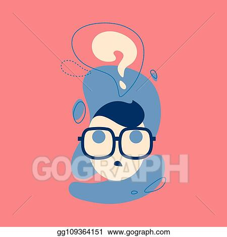EPS Illustration - Icon of thinking man with question mark in think