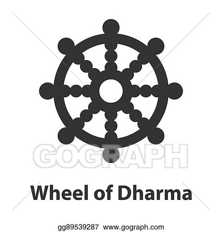 Vector Clipart Icon Of Wheel Of Dharma Symbol Buddhism Religion