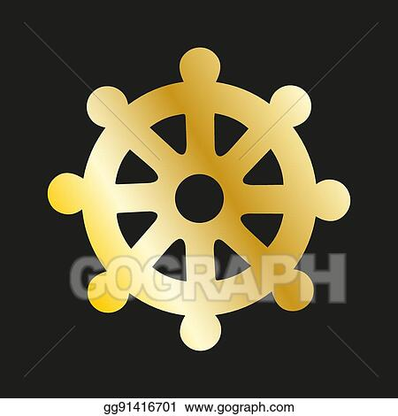 Vector Stock Icon Wheel Of Of Dharma In Gold Buddhist Symbol