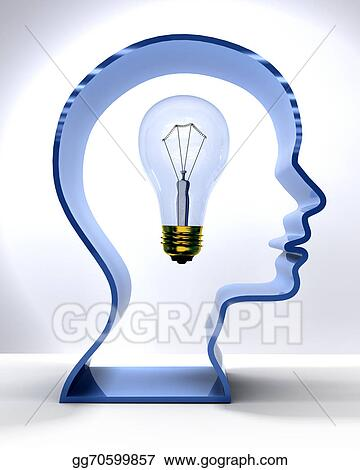 Idea Person Mind Light Bulb In Silhouette Head