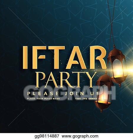 Vector stock iftar party invitation card design with hanging lamps iftar party invitation card design with hanging lamps stopboris Image collections