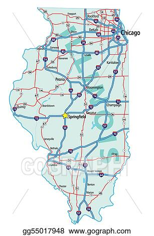 Clip Art Vector - Illinois state road map. Stock EPS gg55017948 ...