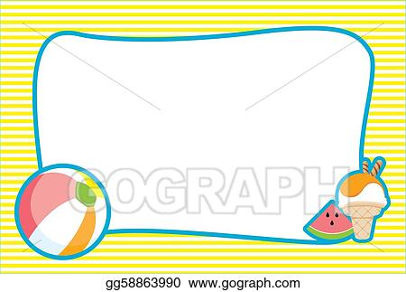 Border Clip Art Featuring Beach Graphics Such As Sandcastles