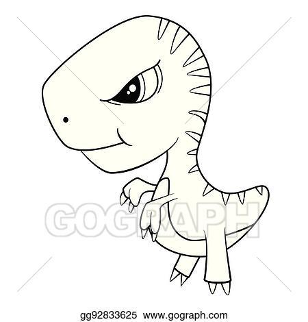 Image of: Clip Art Illustration Of Cute Cartoon Of Green Baby Trex Dinosaur Gograph Vector Art Illustration Of Cute Cartoon Of Green Baby Trex