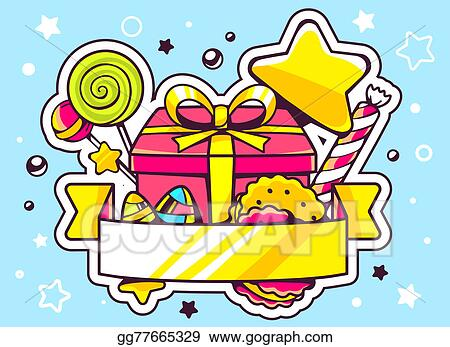 Drawing Illustration Of Gift Box And Sweets With Ribbon On Blue