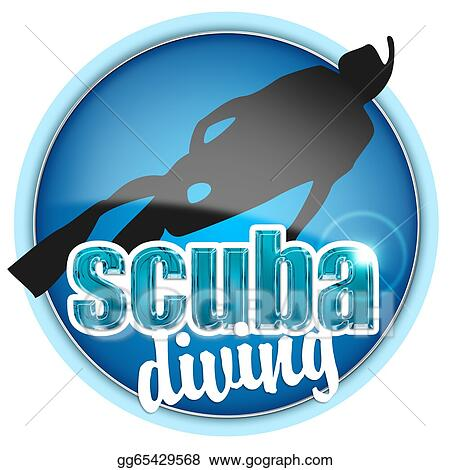 drawing illustration of scuba diving isolated on white background