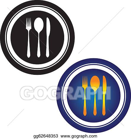 Black Cutlery Symbol Illustration Of Spoon Fork Knife And Plate In White Yellow