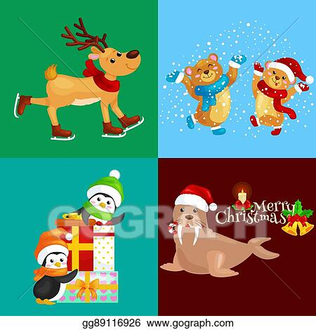 illustration set animals winter holiday north pole penguins with presents and bears under snow deer skating walrus in hatmerry christmas and happy new