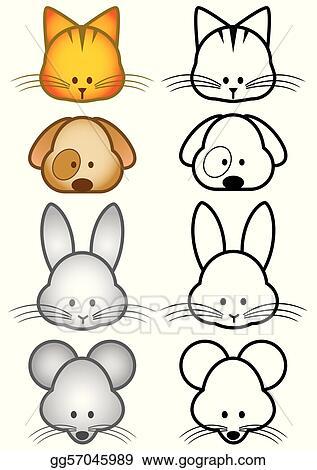 Easy animal. Vector art illustration set