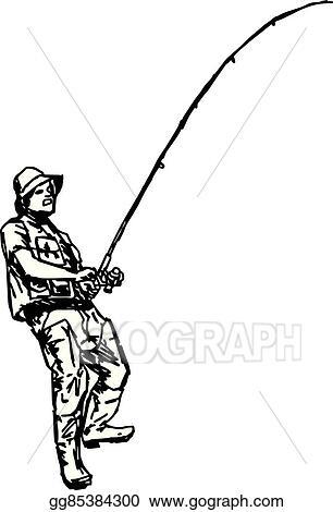 0e33920060a75 Illustration vector hand draw doodles of fisherman holding fishhook isolated  on white background.