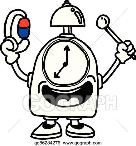 Eps Illustration Illustration Vector Hand Drawn Of A Clock Holding