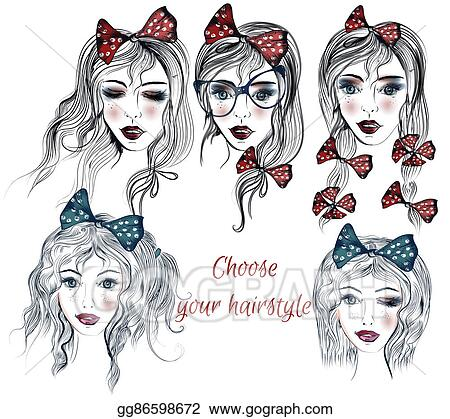 Clipart - Illustration with a face of pretty girls with different ...