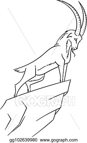 Vector Art - Illustration with mountain goat  climbing tur