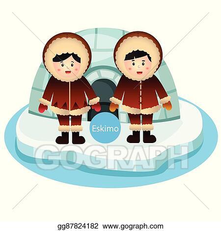 Vector Stock - Illustrator of eskimo boy and girl  Clipart