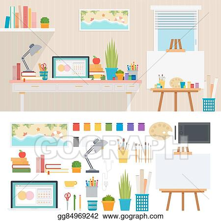 Vector Stock Illustrator Working Place With Artistic Tools Stock Clip Art Gg84969242 Gograph