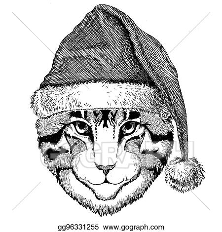 image of domestic cat wearing christmas hat new year eve merry christmas and happy new year zoo life holidays celebration santa claus hat