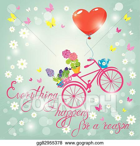 Vector Stock Image With Flowers In Pots And Bicycle On Sky Blue