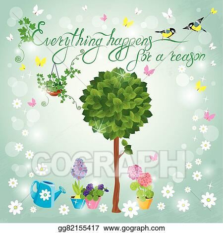 Vector Stock Image With Green Tree Flowers In Pots And Birds On