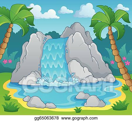 vector art image with waterfall theme 2 clipart drawing