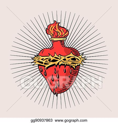 Eps Illustration Immaculate Heart Of Blessed Virgin Mary Tattoo