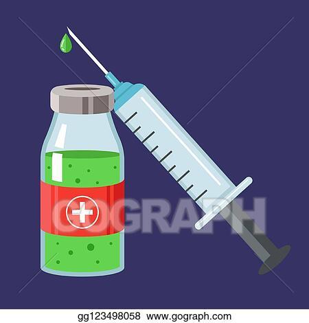 Vektorstock Impfstoff Und Syringe Geben A Schnupfen Schuss Stock Clipart Gg123498058 Gograph