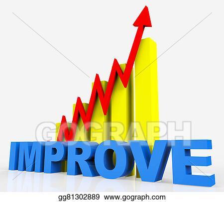 clip art improve graph indicates improvement plan and data stock