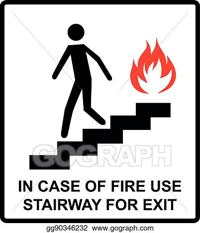 Eps Illustration In Case Of Fire Use Stairway For Exit Sign