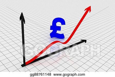 Stock Illustration Increasing Graph With British Pound Symbol 3d