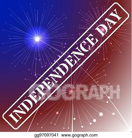 independence day background with american flag colors and fireworks on dark sky 4th of july illustration