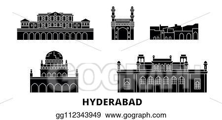 Clip Art Vector - India, hyderabad flat travel skyline set