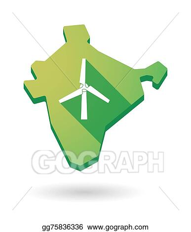 Clip Art Vector - India map icon with a wind generator  Stock EPS