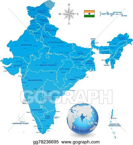 Clip Art Vector - India vector map set with 3d globe. Stock EPS ...