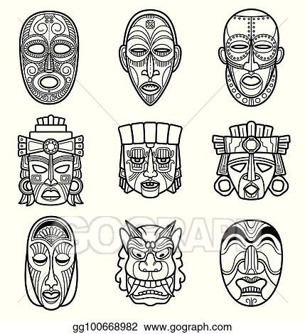 vector art indian aztec and african historic tribal mask vector