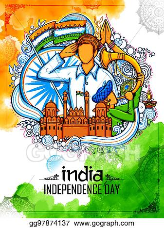 Vector Art Indian Background With People Saluting With Famous Monument Red Fort For Independence Day Of India Clipart Drawing Gg97874137 Gograph