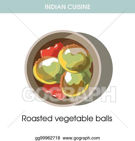 Vector Stock Indian Cuisine Roasted Vegetable Balls
