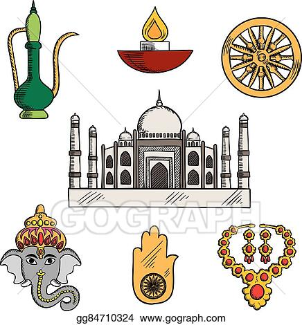 Vector Art Indian Culture And Religion Icons Clipart Drawing