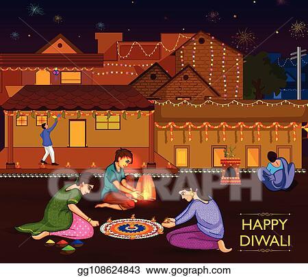 Vector Stock - Indian family people celebrating diwali