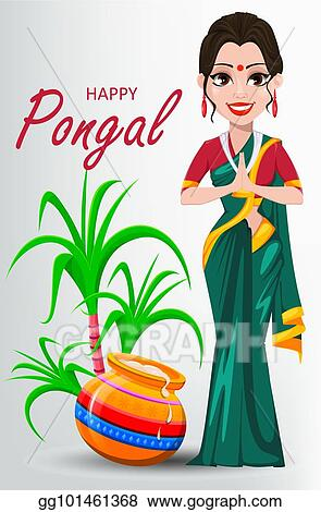 Vector illustration indian girl with pot and sugarcane happy indian girl with pot and sugarcane happy pongal greeting card m4hsunfo