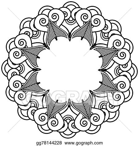 30455a326 Vector Art - Indian henna tattoo inspired icon. Clipart Drawing ...