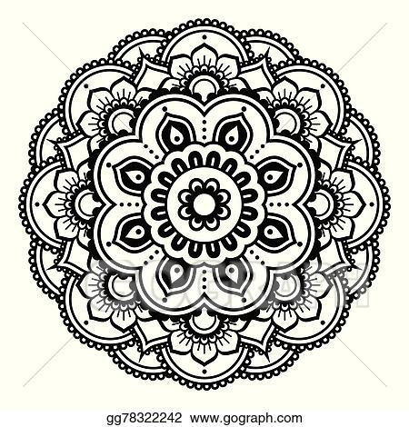 Vector Stock Indian Henna Tattoo Pattern Stock Clip Art