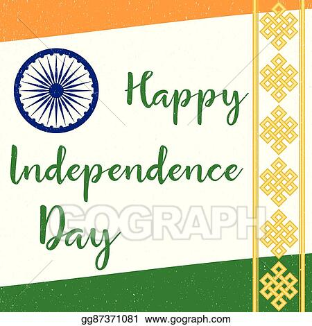 vector illustration indian independence day greeting card poster