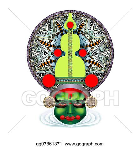 Vector Art Indian Kathakali Dancer Face Clipart Drawing