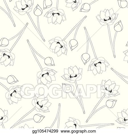 Vector Art Indian Lotus Outline On White Background2 Eps Clipart