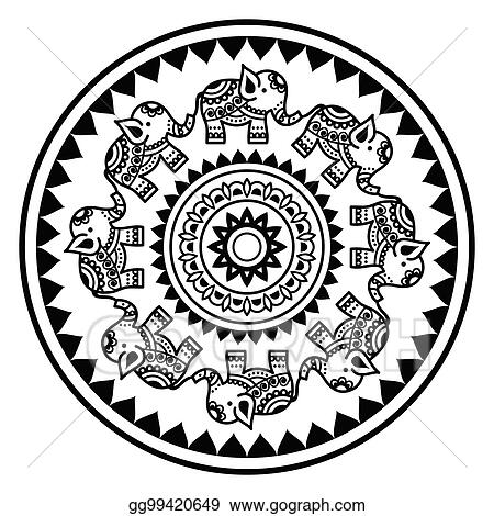 5335967ac Indian mandala with elephants and abstract shapes, Mehndi - Indian Henna  tattoo style vector pattern