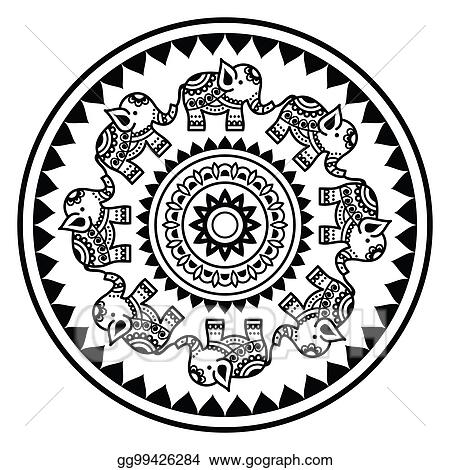 Clipart Indian Mandala With Elephants And Abstract Shapes Mehndi