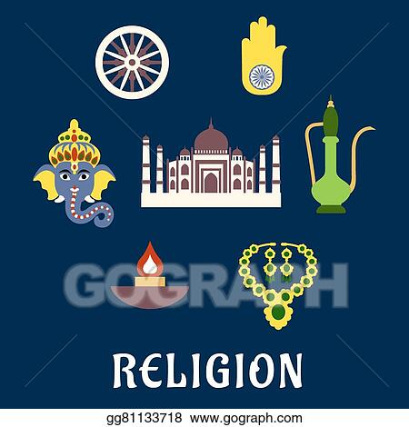 Vector Art Indian Religion And Culture Flat Symbols Eps Clipart