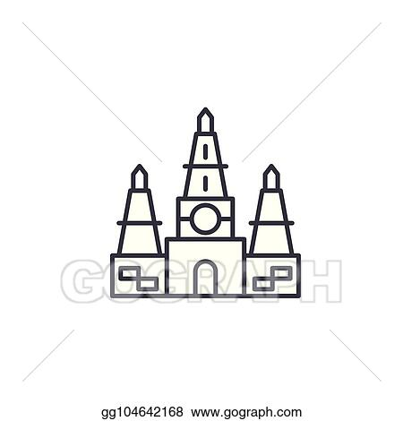 Vector Art Indian Temple Linear Icon Concept Indian Temple Line