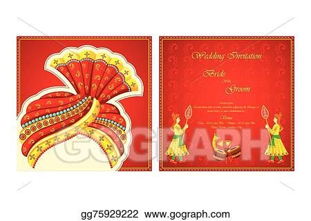 Vector Illustration Indian Wedding Invitation Card Eps Clipart