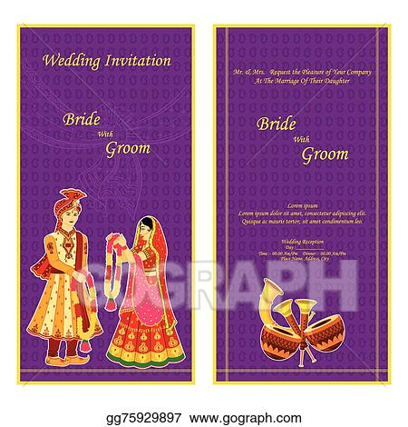 Vector illustration indian wedding invitation card eps clipart indian wedding invitation card stopboris Image collections